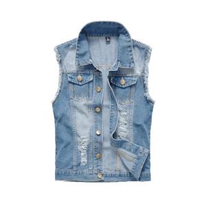 Herrenkleidung Frühling Herren Denim Westen Ripped Ärmel Jeans Mantel Männlich Westen Behälter Herren Jacke plus Größe 6XL