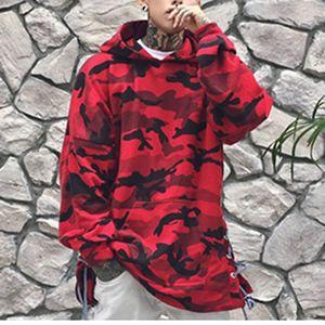 Новый красный синий камуфляж толстовка мужская мода хип-хоп кофты бренд оригинальный дизайн повседневная отложной воротник пуловер для меня осень
