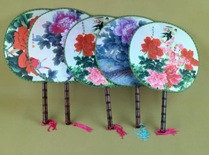 대형 꽃 라운드 실크 핸드 팬은 전통적인 공예 숙녀를 처리 중국어 댄스 팬 장식 파티 웨딩 부탁 팬 50pcs / lot