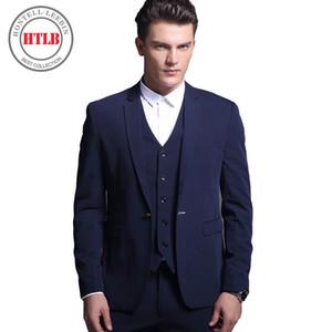 HTLB Brand Mens Suits Blazers 2017 New Classic Fashion Wedding Business Slim Fit Party Suit Tuxedos Men Jacket+Pants+Vest