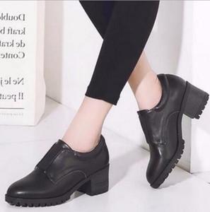 Zapatos perezosos con la banda elástica de cuero de las mujeres británicas Europa y zapatos de boca profunda de los Estados Unidos botines con cabeza redonda corta tu