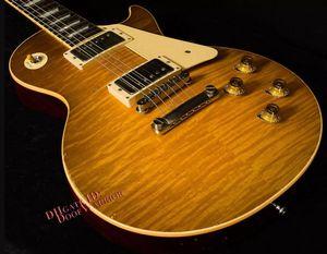 Custom Shop Historic 1960 Reedição Tom Murphy Limão envelhecido do vintage estourou o Relic guitarra elétrica, One Piece Neck, Little Pin Tone Pro Ponte