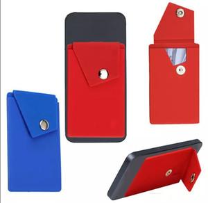 Adhesive Silicone Phone Wallet mit Snap Pocket Phone Back Aufklebbarer Kreditkartenhalter mit Ständer für Smartphones Random Color WholesaleLLFA
