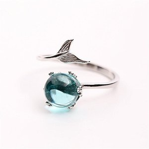 2018 neue 100% 925 Sterling Silber Blau Kristall Meerjungfrau Blase Open Ringe Für Frauen Kreative Modeschmuck Bague Femme D18111306