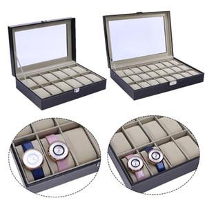 2018 vigilanza dell'esposizione 12/24 in pelle griglie PU finestra Box Watch Box di legno parola blocco 12 gioielli griglia della cassa dell'orologio femminile