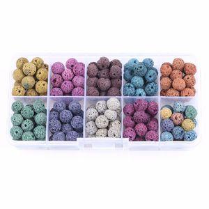 180 UNIDS 8mm de Color Perlas de Piedra de Lava Redondas Perlas de Roca Granos Sueltos Piedra Gema Volcánica para Pulsera Collar Fabricación de Joyas