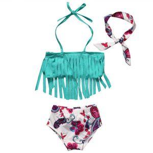 뜨거운 여름 아기 소녀 비키니 3 개 세트 수영복 수영복 수영복 비치웨어 Tassels 탑 + 꽃 무늬 팬티 + 머리띠 인쇄