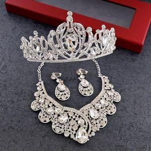 Krone der Braut Drei Sätze von Hochzeit Braut Kopfschmuck Schmuck Hochzeit Accessoires Krone Halskette Ohrringe Haarschmuck Anzug