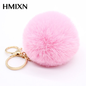 Grande eco-pelle 8CM Fur PomPom KeyChain Rabbit Capelli Bulb Bag pom pom Chiave della catena chiave pendente portach clef per le donne Lovely Fluffy