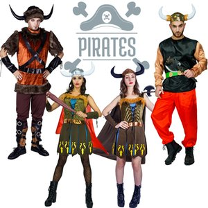 Recién llegado adulto Viking Pirate Costume Cosplay Party Imitación Halloween Deluxe Pirate for Women vestido para hombres adultos