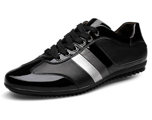 Patentes de cuero genuino para hombre zapatos de gran tamaño remiendo para hombre ocio botas para caminar de color rayado pisos de respiración para hombres zy802