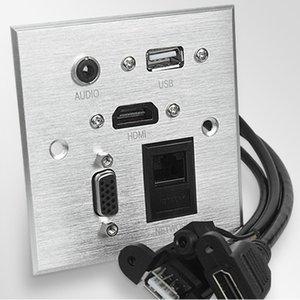 Бесплатная доставка мультимедийная панель Socket алюминиевая панель Socket многофункциональная информационная панель с аудио, HDMI, зарядка USB, VGA, RJ45