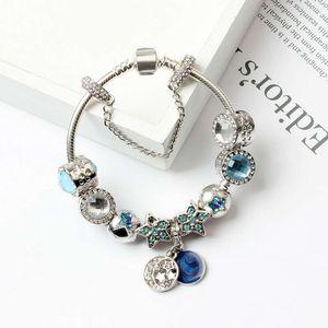 Nuevas pulseras con encanto para gatos azules ojos cuentas pulsera 925 pulseras de plata brillante estrellas Luna brazalete Diy joyería