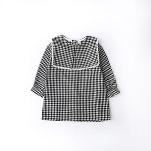 2018 estilos del INS Vestido de niña con cuello grande y encaje blanco Vestido de manga larga con estampado a cuadros