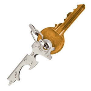 الفولاذ المقاوم للصدأ شنقا مفتاح مشبك العملي 8 في 1 الجيب أدوات edc العالمي متعدد الوظائف مفك فتاحة زجاجات 3 2dt