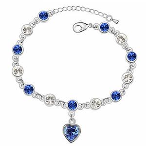 سوار القلب الأزرق كريستال للنساء مجوهرات الأزياء كريستال من سواروفسكي إليمنتس إكسسوارات الهدايا النسائية الذهب الأبيض مطلي 10272