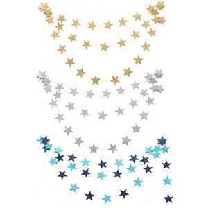 2016 New 4M Paper Garlands Birthday Wedding Mariage Party Room Door Festival Star Decoration Gold Blue