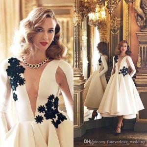 2018 Couture Elfenbein Cocktailkleider Abendkleider Langarm Tee-Länge Sexy Formale Dubai Kaftan Prom Party Kleid für Frauen Plus Größe