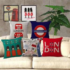 Funda de Almohada de Lino London Bus Modelos Sofá Throw Pillows Case Moda Cojín de Ropa de Cama Funda de Almohada Cuadrada Home Decor 15 tipos YFA164