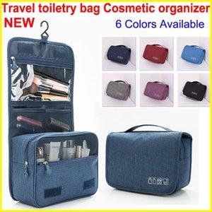 2018 estilo organizador cosmético bolsa con gancho portátil bolsa de viaje colgando bolsos de baño lavado a prueba de agua de gran capacidad bolsas de maquillaje 6 colores
