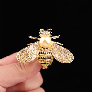 Aimei Bee Броши Унисекс насекомых Брошь Кристалл Горный Хорбус PIN-код Женщины и Мужчины Ювелирные Изделия Симпатичные Небольшие Значки Мода Ювелир