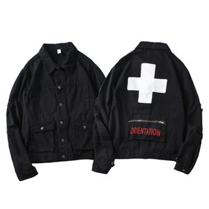 남성 스트리트 찢어진 편지 Pirnt 데님 재킷 코트 여성 백 포켓 하이 스트리트 데님 재킷 남성 힙합 코트