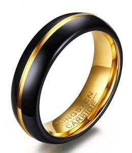Anel de casamento 6mm de Ouro e Banhado A Preto Mens Tungsten Carbide Weeding Anel Banda para Homem E Mulher Tamanho 6-12 venda Quente!