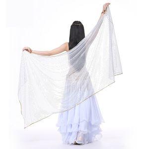 2018 Stage Performance Belly Dance SequinScarf Scialle Light Texture Mezza cerchio Veils Professional Women Belly Dance Veil