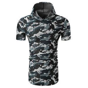 JAYCOSIN Mens Boy Summer Camouflage Print Slim Fit Hoody T Shirt Personality Worn Out Streetwear jul0218