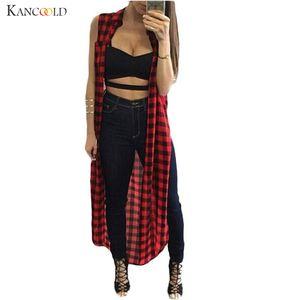 Fashion Summer Autumn Women Long Plaid Sleeveless Split Vest Outerwear New Korean Style Pectoral Tops Cardigan Coat Blusas Aug19
