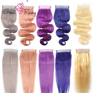 Greatremy® Menschliches Haar Closure Gerade Körper-Welle Blond Rosa Violett Blau Grau bunte Spitze Schließung Virgin Haar Closure 4x4