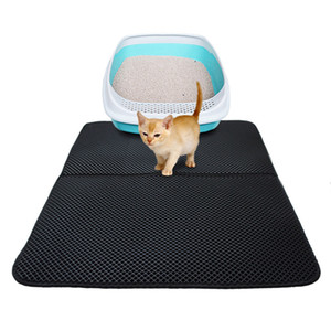 Cat Litter Mat Double-layer Waterproof High Elastic EVA Foldable Pet Cat Mat Scratch-resistant Litter Mat Catcher Black