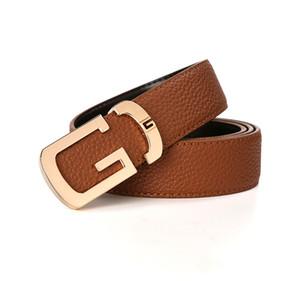 Caliente del cuero genuino de la correa correas G hebilla de las correas de cintura del vaquero de cuero de moda de oro hebillas Stap