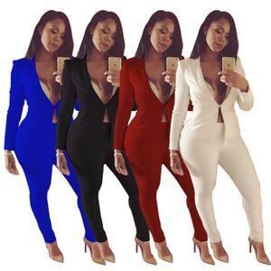 Venta caliente elegante mujer pantalones trajes 2018 Primavera otoño manga larga solapa cuello chaqueta y pantalones conjuntos OL Women Coat Blazers trajes 4 colores