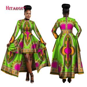 2018 Vestidos africanos para as Mulheres Dashiki Cotton Wax Imprimir Batik sexy vestido longo para WY1268 roupas Femal tradicional
