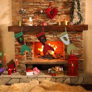 Paillettes queue de poisson bas de noël bonbons cadeau titulaire sacs arbre de noël suspendu ornement cheminée décoration fenêtre