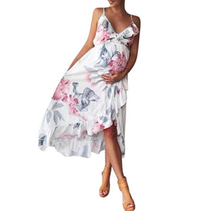 2018 Summmer материнства платье мода беременность одежда мать одежда V-образным вырезом без рукавов цветочные Falbala беременных женщин платье