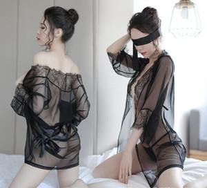 2018 New Lace Lencería sexy Temptation Lencería Mujeres Transparente Mesh Nightgown Sexy Dew Point Albornoz Set