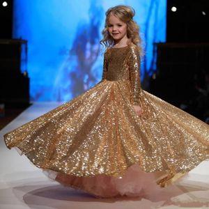 Gold Sequined Little Girls Pageant Desses 2018 New Jewel Neck Custom Made Long Sleeve Sparkling Kids Formal Wear Wedding Flower Girl Dresses