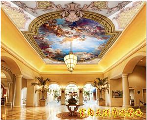 Оптовые Пользовательские обои 3d для стен 3d потолок обои Фреска HD европейского потолка фрески ангел характер роспись Zenith плафон