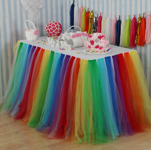 Colorido Arco Iris Tul Mesa Falda Mesa Redonda Falda Favores de la Boda Fiesta de Baby Shower Decoración Boda Signo en Mesa Falda Textiles para el hogar