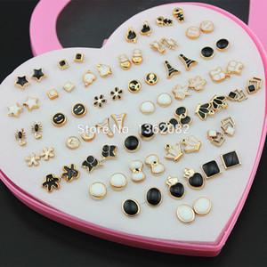 Designer de moda 36 pares Preto Branco Brincos Dos Desenhos Animados Hipoalergênico Plástico Brincos para Mulheres Gir ME233