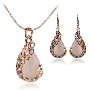 European and American creative style Peacock ornament necklace suit Hot necklace earrings jewelry set Source of supply