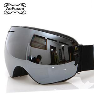 Lunettes de ski, 2018 Nouvelle marque professionnel anti-brouillard double lentille UV400 Big sphérique hommes femmes lunettes de ski ski lunettes de snowboard C18110301