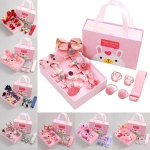 Bandas Flor Moda Acessórios de cabelo headband Meninas elástico de cabelo bonito Presentes Bow Hairband Box Hairclip Meninas do Natal 18pcs / caixa