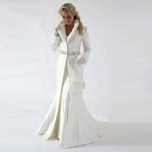 2018 старинные свадебные платье свадебное платье зимнее пальто женщины с длинным рукавом из искусственного меха подъема поезда поезда поезда бриллианты бисером талии вечернее длинное пальто