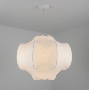 Modern seda branca lanterna Pendant Light Silk Retro criativa Living room lâmpada do teto Fixação PA0402