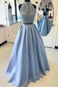 라이트 블루 투피스 댄스 파티 드레스 섹시한 긴 이브닝 드레스 가운 드 Soire 공식 파티 드레스