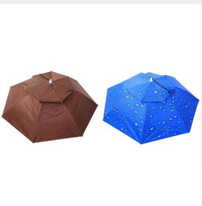 2 레이어 휴대용 접는 우산 모자 바람 증거 모자를 쓰고 있죠 우산 모자 야외 낚시 캠핑 하이킹에 대 한 무료 비가 장비