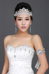Mariage Vintage De Mariée Demoiselle D'honneur Cristal Strass Diamant Front Cheveux Accessoires Gland Bandeau Couronne Tiara Princesse Bandeau Argent
